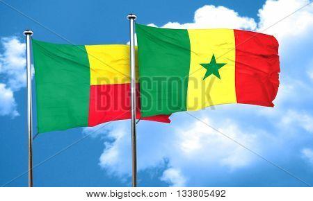 Benin flag with Senegal flag, 3D rendering