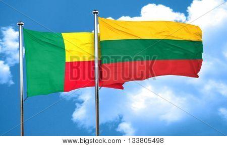 Benin flag with Lithuania flag, 3D rendering