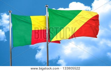 Benin flag with congo flag, 3D rendering