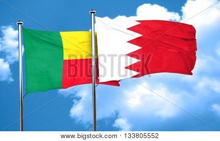 Benin flag with Bahrain flag, 3D rendering