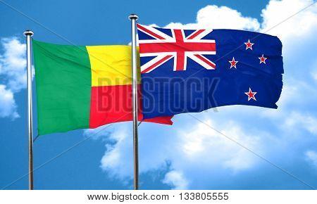 Benin flag with New Zealand flag, 3D rendering