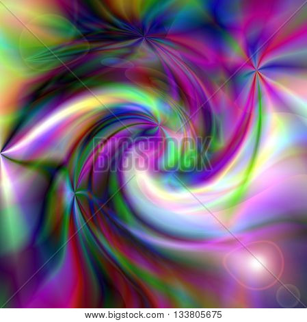 Abstract coloring greens gradients background with visual lens flare and twirl effects