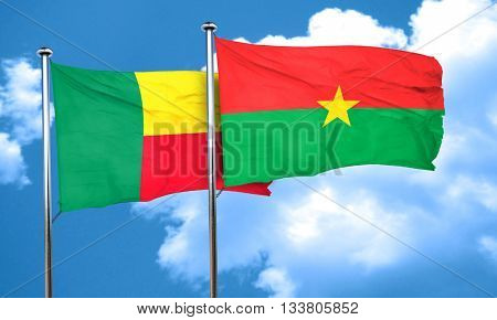 Benin flag with Burkina Faso flag, 3D rendering