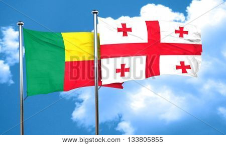 Benin flag with Georgia flag, 3D rendering