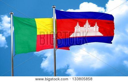 Benin flag with Cambodia flag, 3D rendering