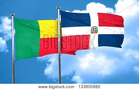 Benin flag with Dominican Republic flag, 3D rendering