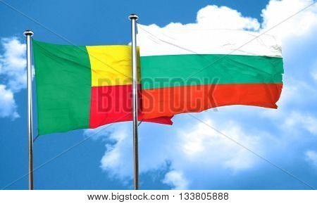 Benin flag with Bulgaria flag, 3D rendering