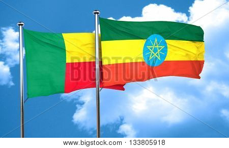 Benin flag with Ethiopia flag, 3D rendering