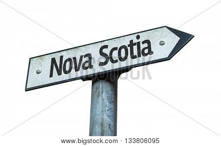 Nova Scotia direction sign isolated on white background