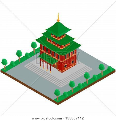 vector illustration. The building of a Buddhist temple. isometric 3D
