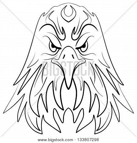 Stylized eagle head emblem illustration Ink sketch eagle