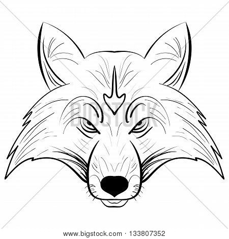 Hand drawn vector fox head. Muzzle fox tattoo in ethnic style. Decorative head in doodling style. Hand drawing ink. Vector illustration.