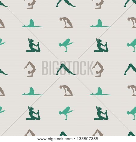 Yoga poses seamless colorful pattern. Vector Illustration.