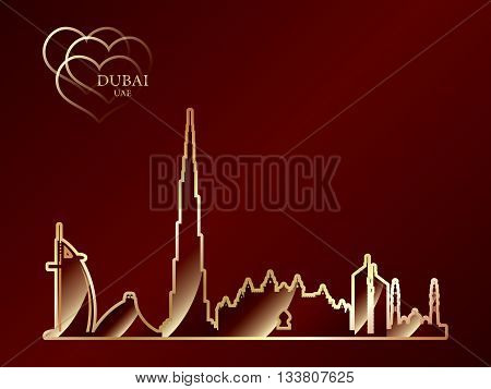 Gold Silhouette Of Dubai On Red Background