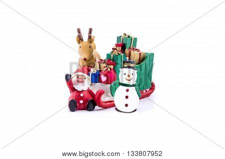 Santa claus in sleigh carrying a gifts with reindeer and snowman on white background.