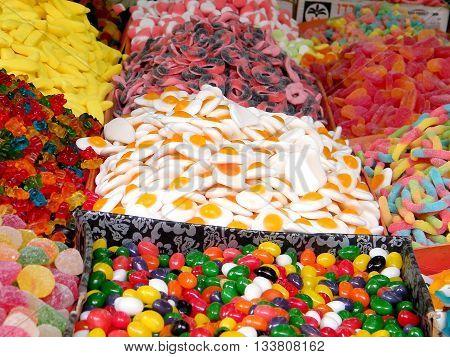 Multicolor sweets on bazaar in Tel Aviv Israel
