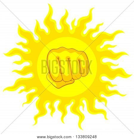 Bright yellow sun and fist in the middle with sunrays, on white sky. Risk of sunstroke and heatstroke at hot season