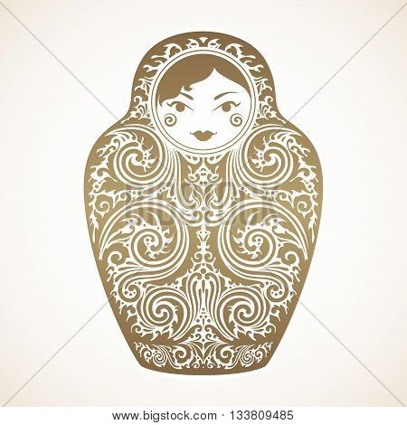 Vintage otnamental doll vector illustration. Russian Nesting Doll