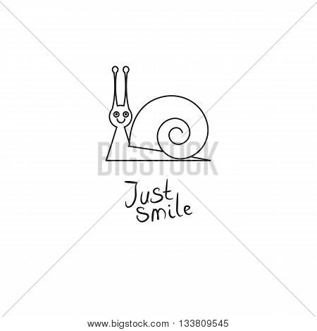 Smiling snail on white background. Symbol icon logo design. Vector illustration with motivational quote 'Just smile'