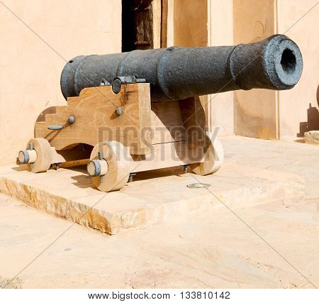 In Oman Muscat The Old Castle And Cannon Near The Wall