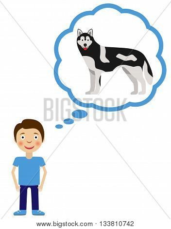 Boy dream about having dog. Little boy wishes for dog pet.