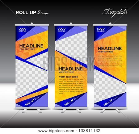 Orange and blue Roll Up Banner template vector illustration