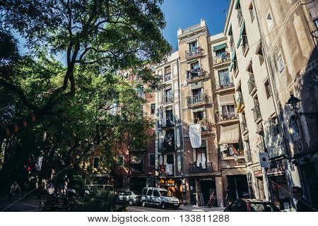 Barcelona Spain - May 22 2015. Apartment houses in Sant Pere Santa Caterina i la Ribera neighborhood of Barcelona city