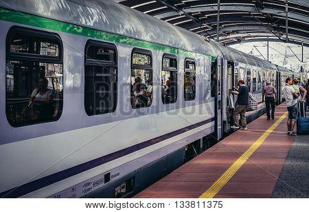 Katowice Poland - August 22 2105. Train on main railway station in Katowice city