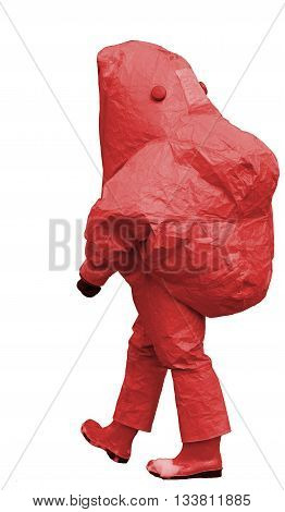Man With Red Protective Gear Against Biological Risk