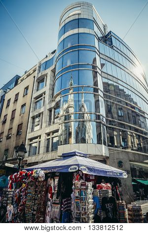 Belgrade Serbia - August 29 2015. Glass and steel building at Prince Michael Street in Belgrade city