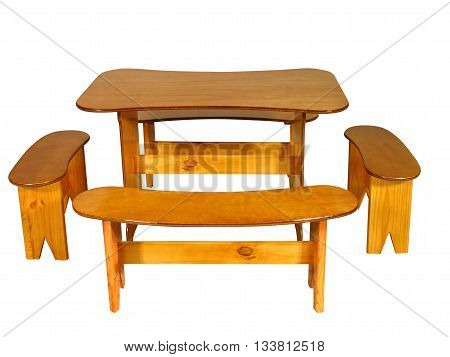 Varnished Pine Wood Breakfast Table And Chairs 01
