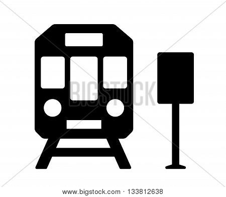 isolated black icon with train and station sign silhouette
