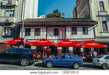 Belgrade Serbia - August 29 2015. Question Mark kafana - old traditional tavern in Belgrade city