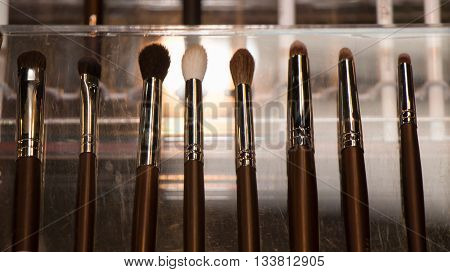 set of new thin natural color professional makeup brushes