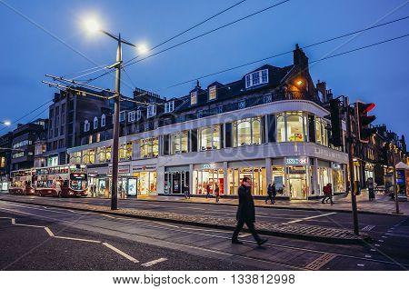 Edinburgh UK - January 20 2015. People walk on Princes Street