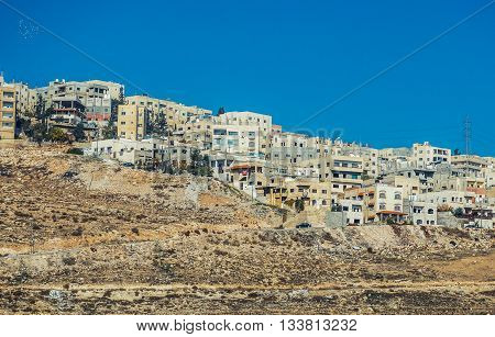 Amman Jordan - December 23 2015. Residential buildings on the suburbs of Amman