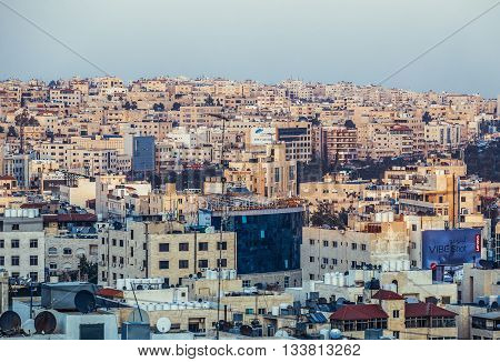 Amman Jordan - December 23 2015. Aerial view of Amman city
