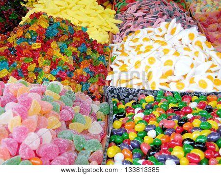 Soft candy on bazaar in Tel Aviv Israel
