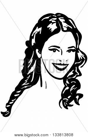 black and white vector sketch of beautiful brunette girl smiling