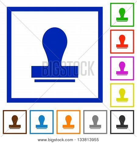Set of color square framed stamp flat icons