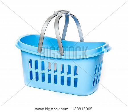 blue plastic basket isolated on whit background