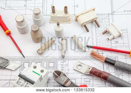 on an shelf there are electrical components