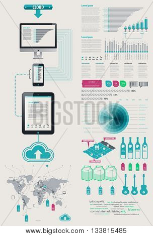 Element Infographics Cloud Technologies. icon display tablet and Cell Phone. bits and pieces of infographics on sales from the world map Vector EPS 10 file. Transparency used.