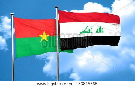 Burkina Faso flag with Iraq flag, 3D rendering