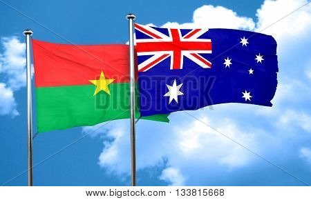 Burkina Faso flag with Australia flag, 3D rendering