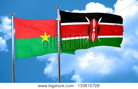 Burkina Faso flag with Kenya flag, 3D rendering