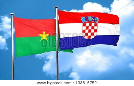 Burkina Faso flag with Croatia flag, 3D rendering
