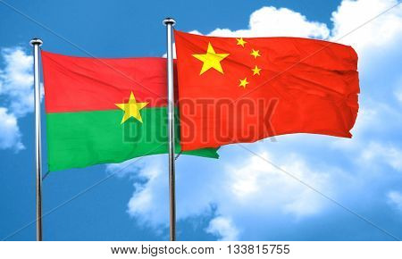Burkina Faso flag with China flag, 3D rendering