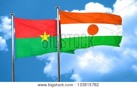 Burkina Faso flag with Niger flag, 3D rendering