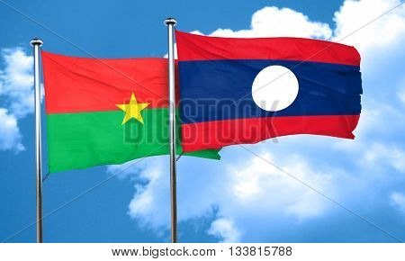 Burkina Faso flag with Laos flag, 3D rendering